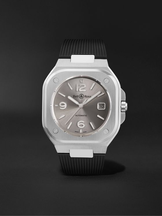 BELL & ROSS BR 05 Grey Steel Automatic 40mm Stainless Steel and Rubber Watch, Ref. No. BR05A-GR-ST/SRB