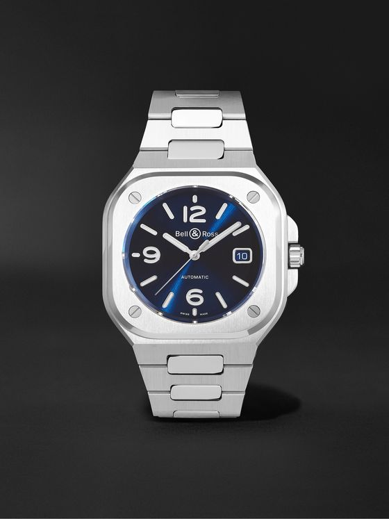 BELL & ROSS BR 05 Blue Steel Automatic 40mm Stainless Steel Watch, Ref. No. BR05A-BLU-ST/SST