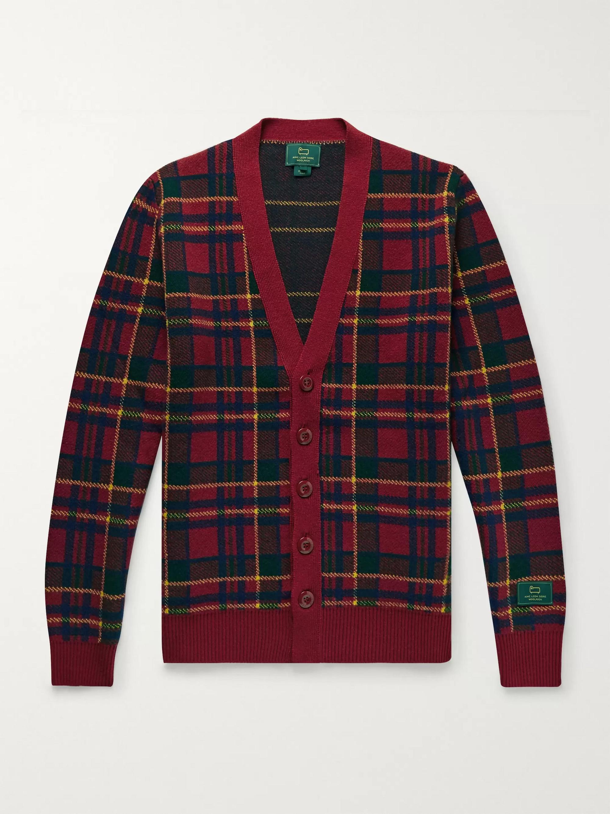 Aimé Leon Dore + Woolrich Checked Wool Cardigan