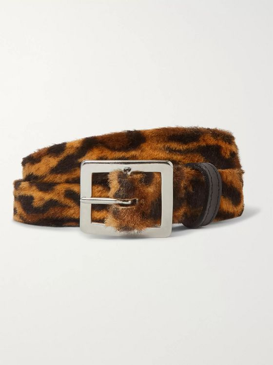 Neighborhood 3cm Leopard-Print Faux Fur Belt
