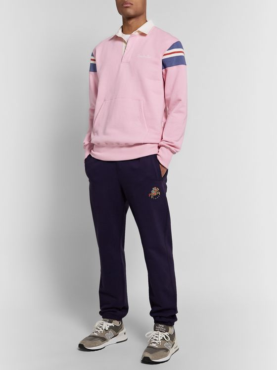 Aimé Leon Dore Logo-Embroidered Striped Loopback Cotton-Jersey Rugby Sweatshirt