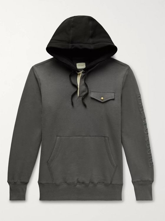 Aimé Leon Dore Logo-Embroidered Colour-Block Loopback Cotton-Jersey Hoodie