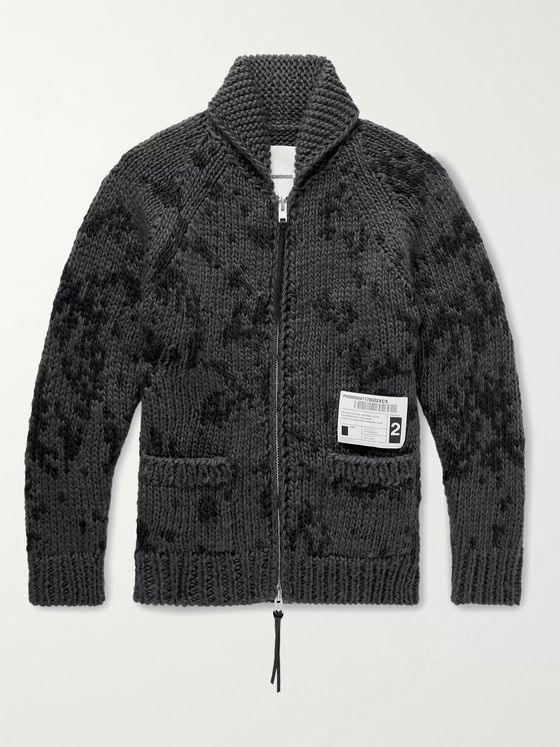 Neighborhood Shawl-Collar Appliquéd Wool-Blend Zip-Up Cardigan