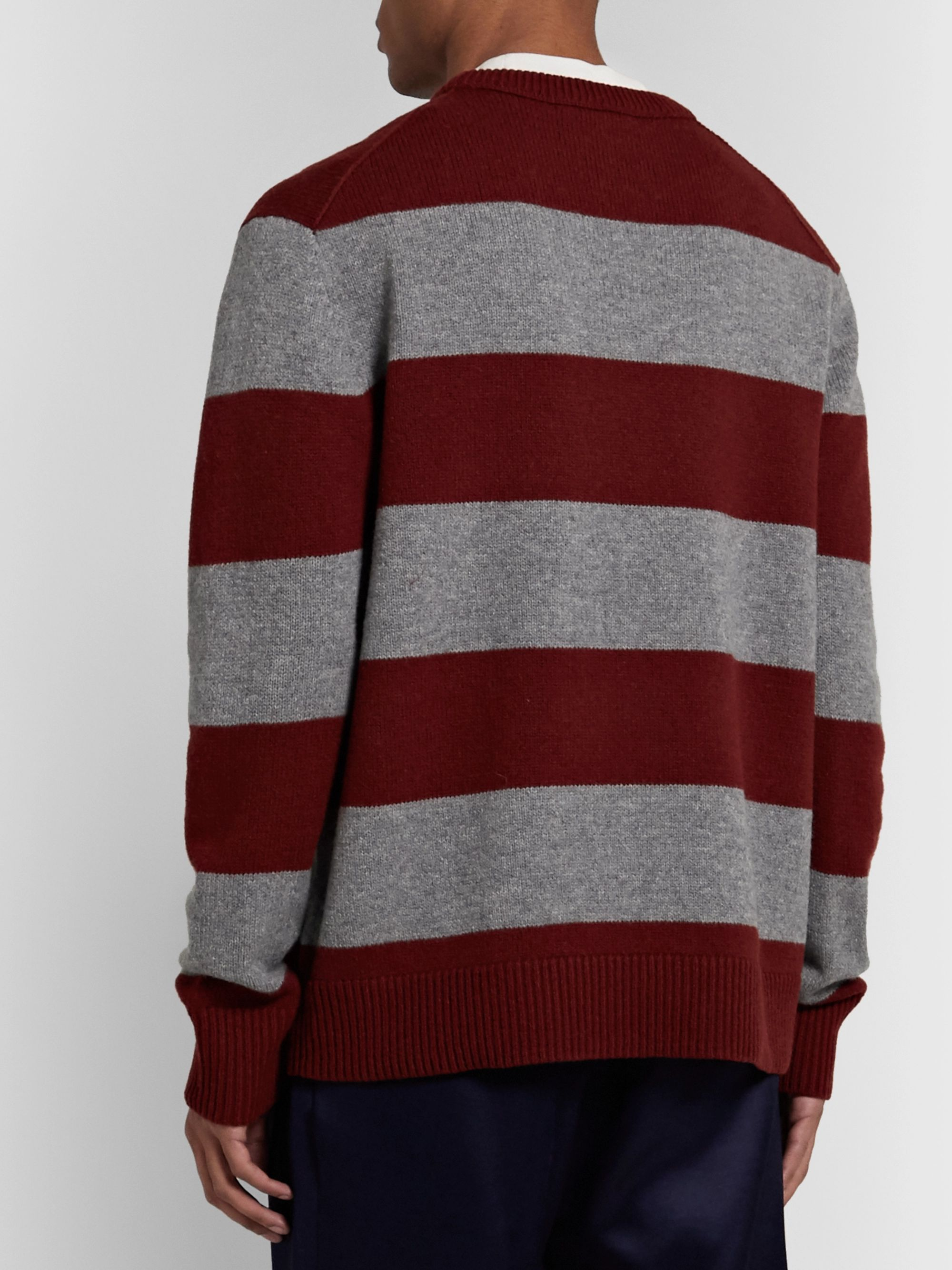 Acne Studios Logo-Appliquéd Striped Wool Sweater