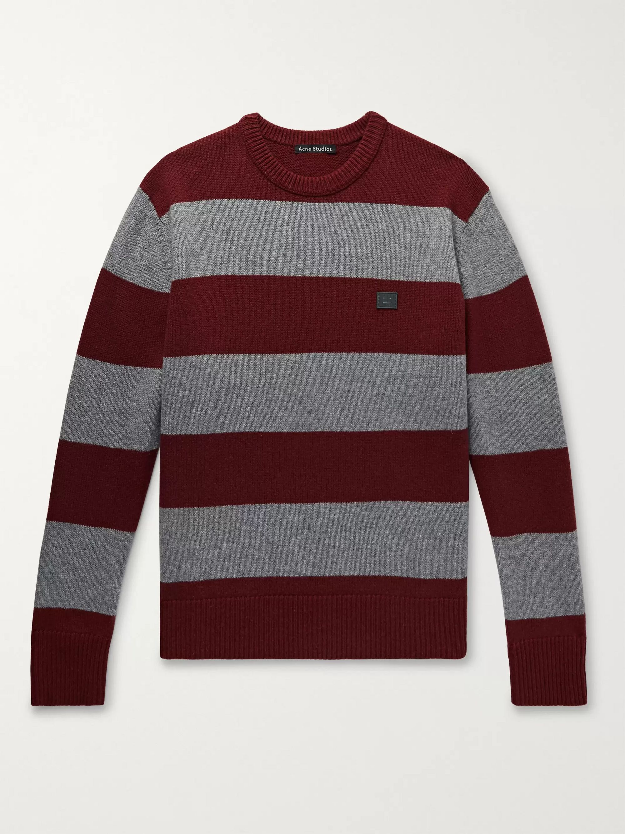 Logo Appliquéd Striped Wool Sweater by Acne Studios