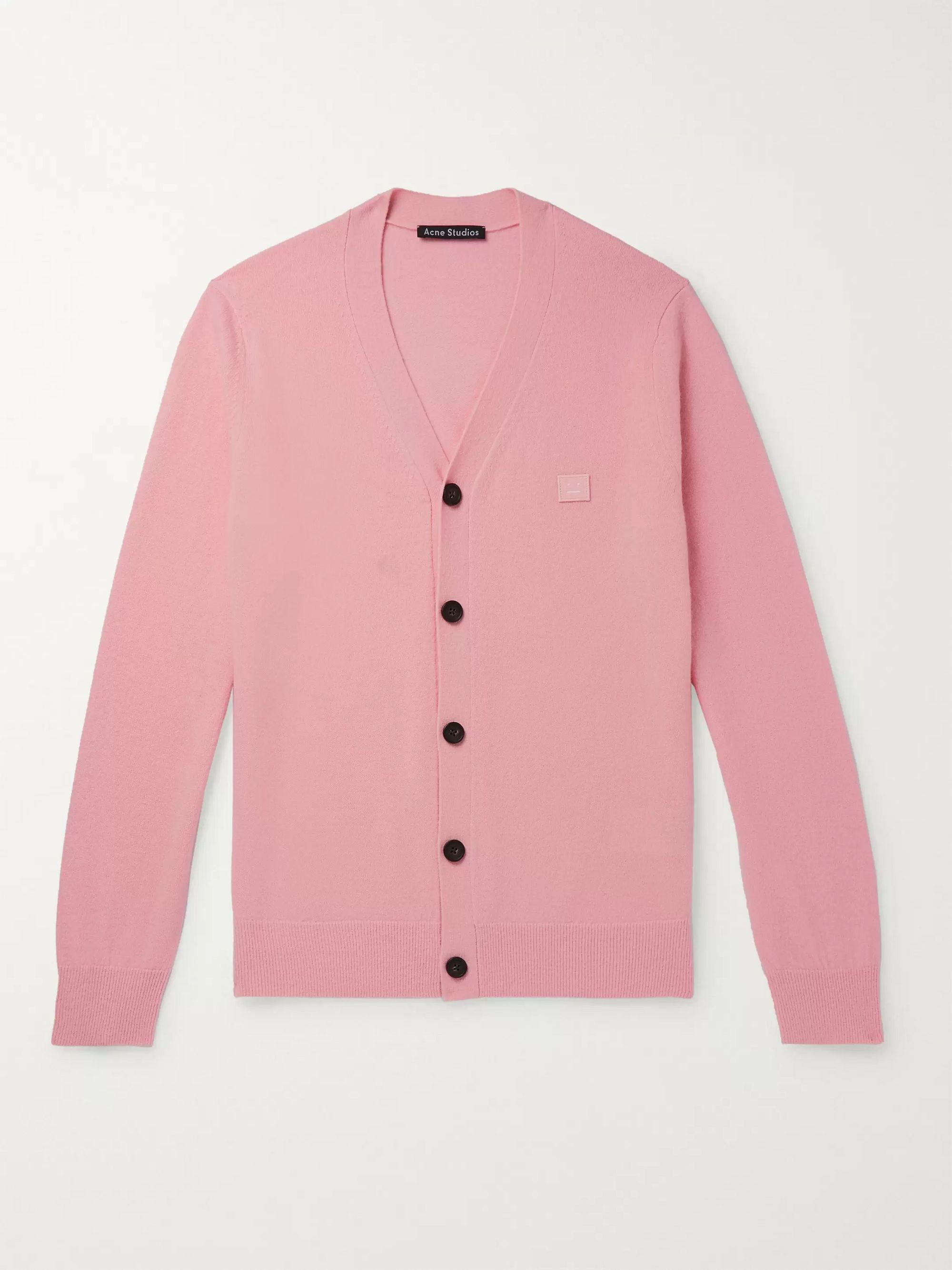 아크네 스튜디오 '페이스' 로고 울 가디건 Acne Studios Keve Logo-Appliqued Wool Cardigan,Pink