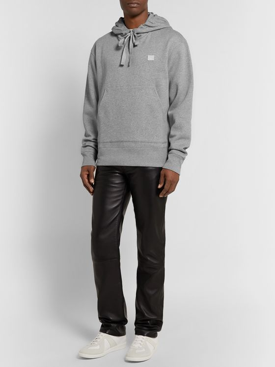 ACNE STUDIOS Ferris Logo-Appliquéd Mélange Fleece-Back Cotton-Jersey Hoodie