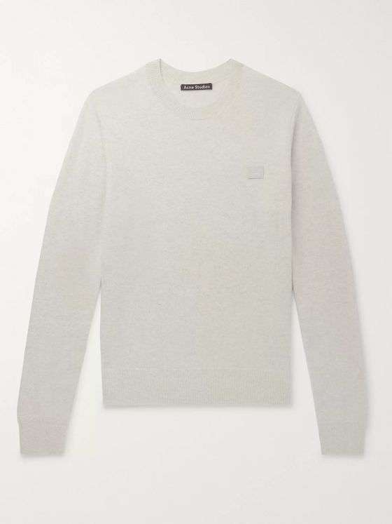 Acne Studios Nalon Logo-Appliquéd Mélange Wool Sweater