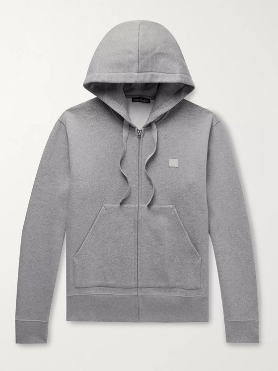 Acne Studios Logo-Appliquéd Mélange Fleece-Back Cotton-Jersey Zip-Up Hoodie
