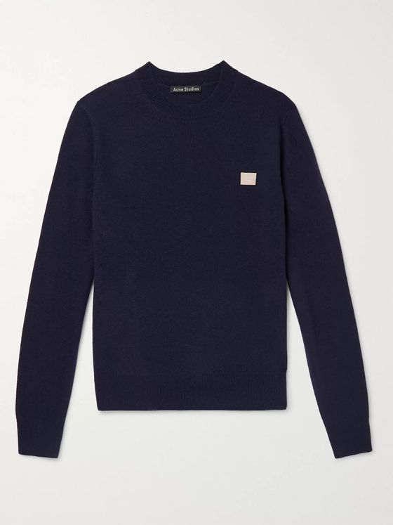 Acne Studios Logo-Appliquéd Mélange Wool Sweater