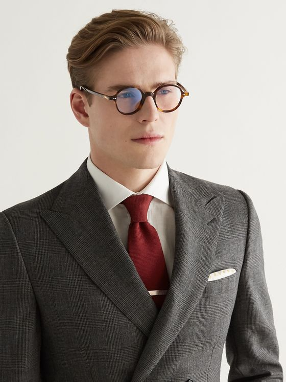 Kingsman + Cutler and Gross Round-Frame Tortoiseshell Acetate Optical Glasses