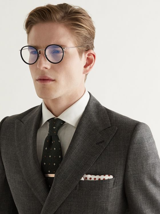 KINGSMAN + Cutler and Gross Round-Frame Acetate and Silver-Tone Optical Glasses