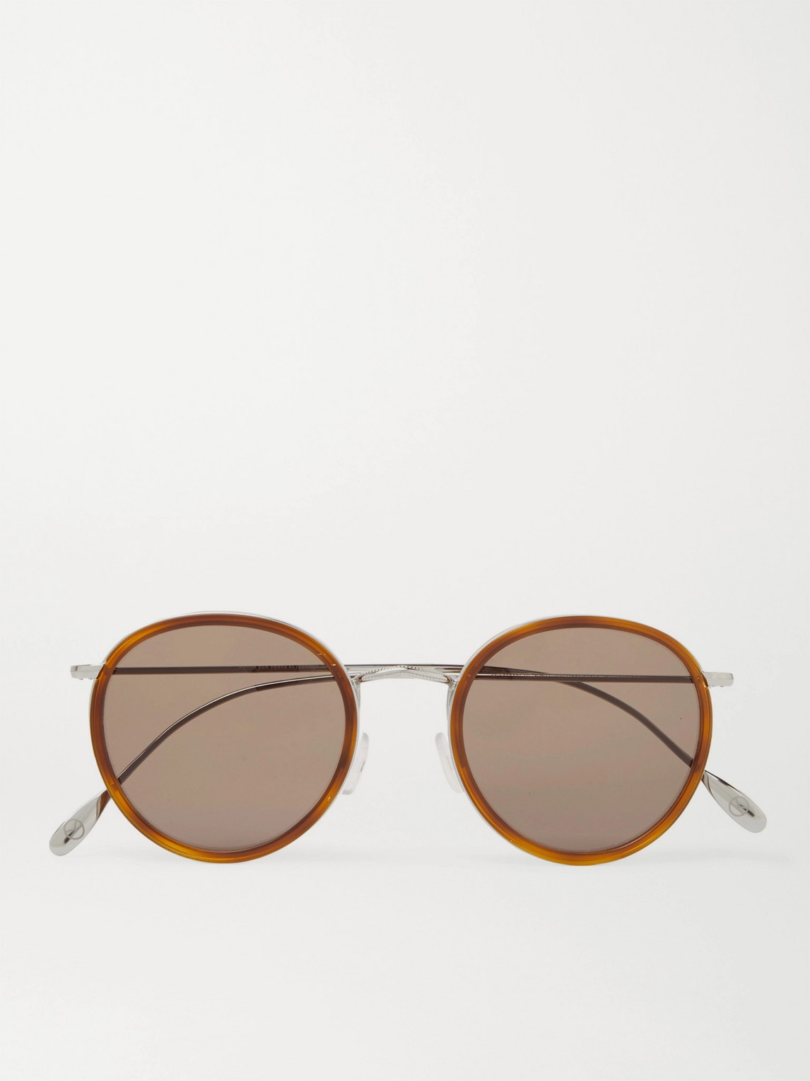 Kingsman Cutler And Gross Round-frame Acetate And Silver-tone Sunglasses In Brown