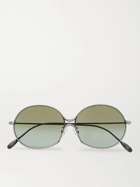 KINGSMAN + Cutler and Gross Round-Frame Silver-Tone Metal Sunglasses