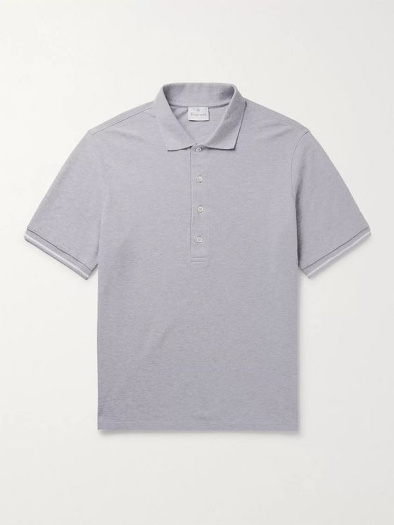KINGSMAN Contrast-Tipped Cotton-Piqué Polo Shirt