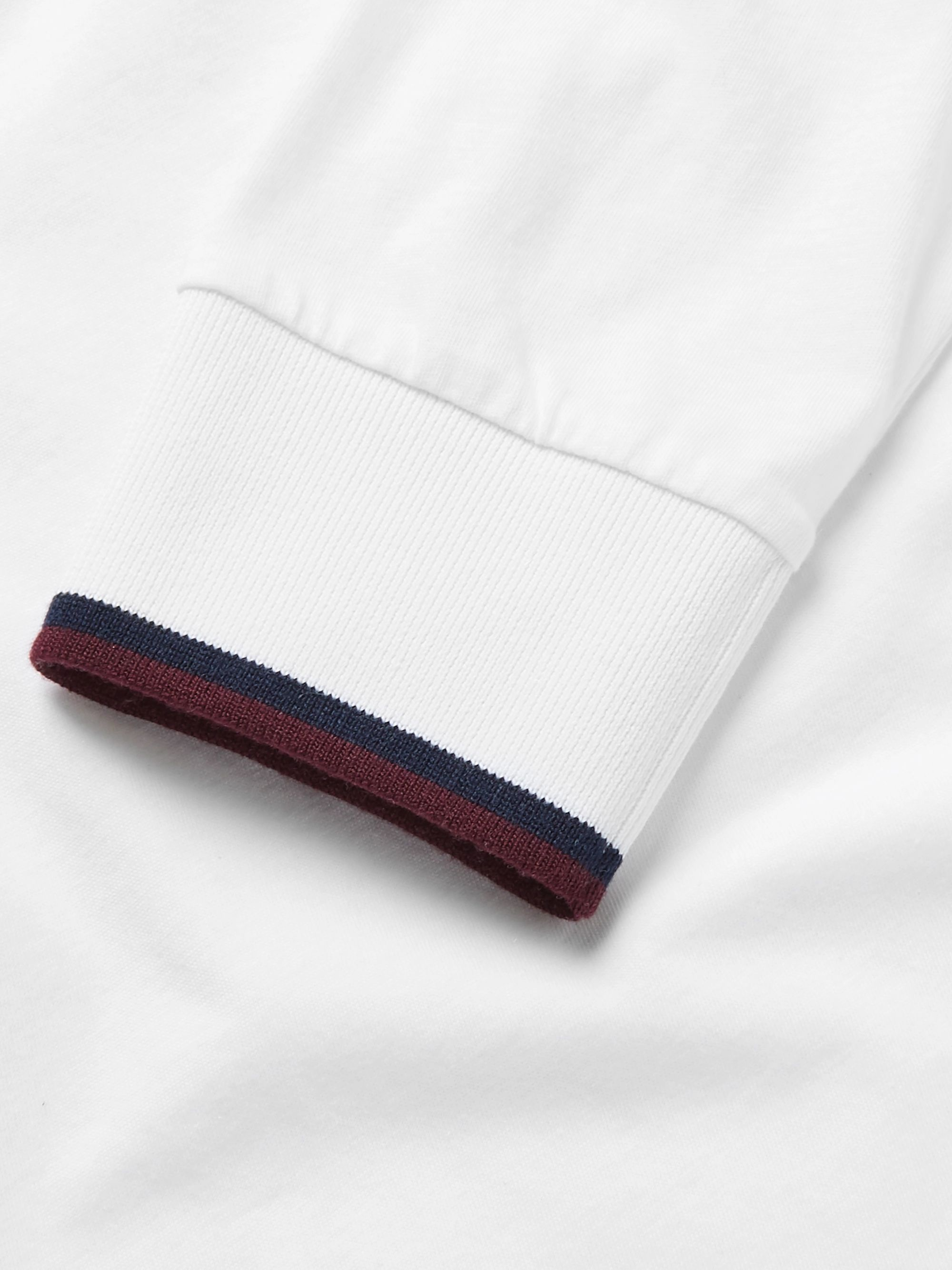 Kingsman Contrast-Tipped Cotton and Cashmere-Blend Henley T-Shirt
