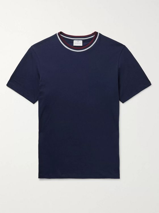 Kingsman Contrast-Tipped Cotton and Cashmere-Blend Jersey T-Shirt