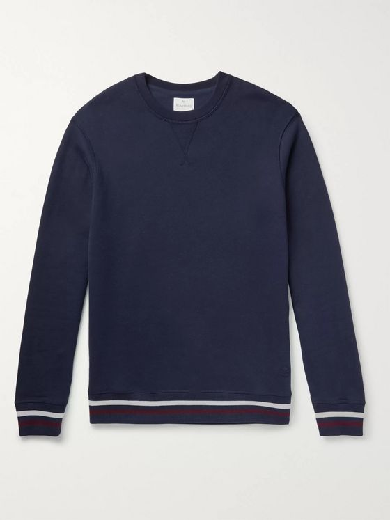 Kingsman Stripe-Trimmed Fleece-Back Cotton and Cashmere-Blend Sweatshirt
