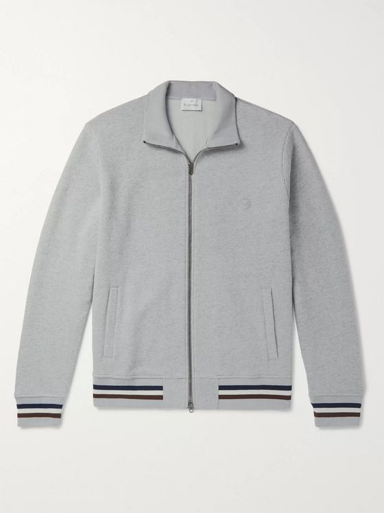 Kingsman Striped Mélange Fleece-Back Cotton and Cashmere-Blend Zip-Up Sweatshirt