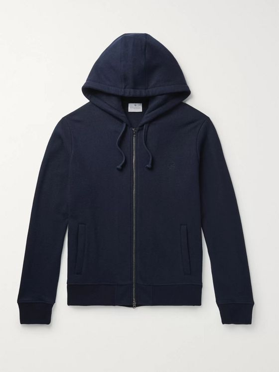 KINGSMAN Brushed-Cashmere Zip-Up Hoodie