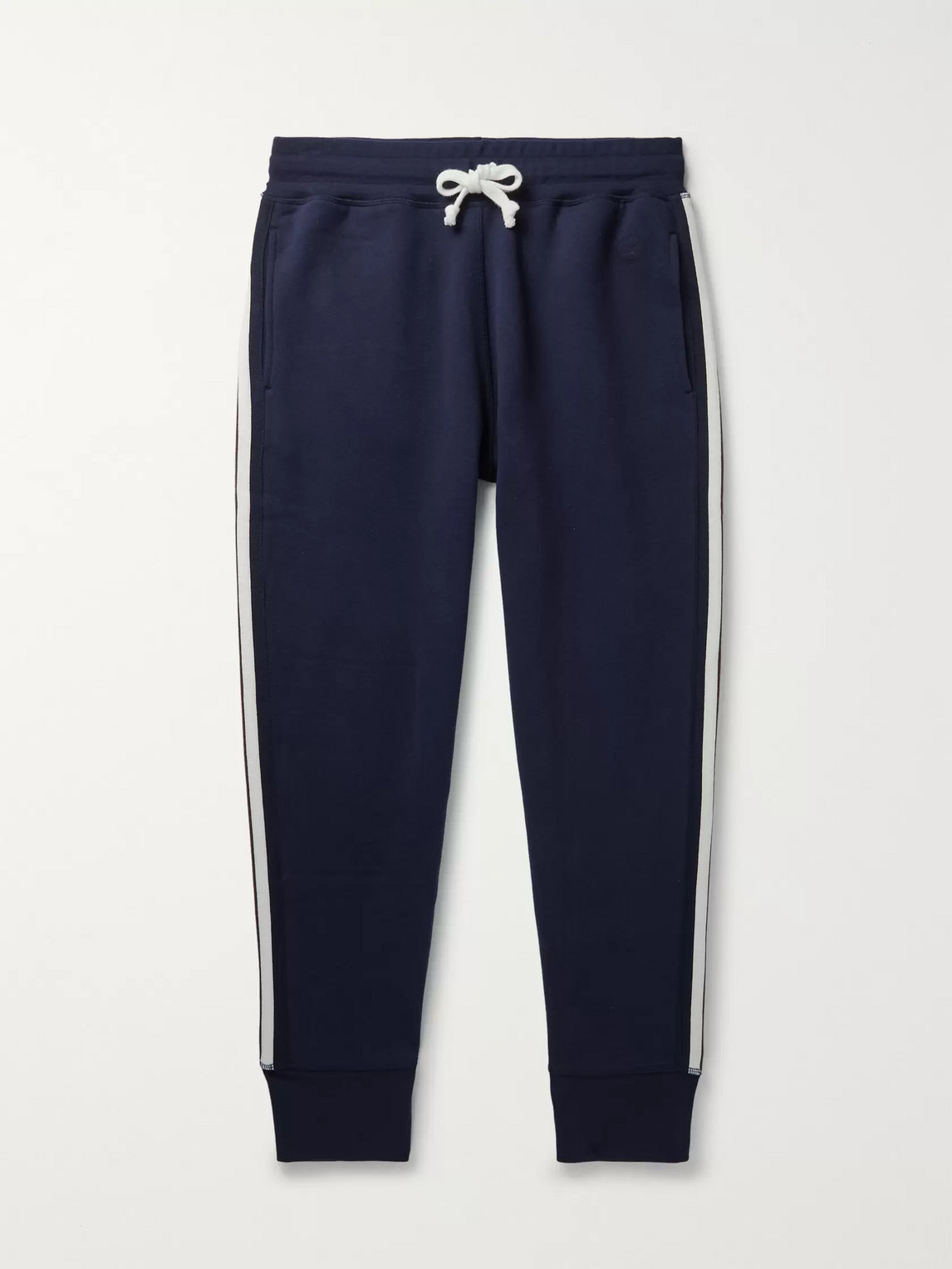 Kingsman Slim-fit Tapered Striped Cotton And Cashmere-blend Jersey Sweatpants In Blue