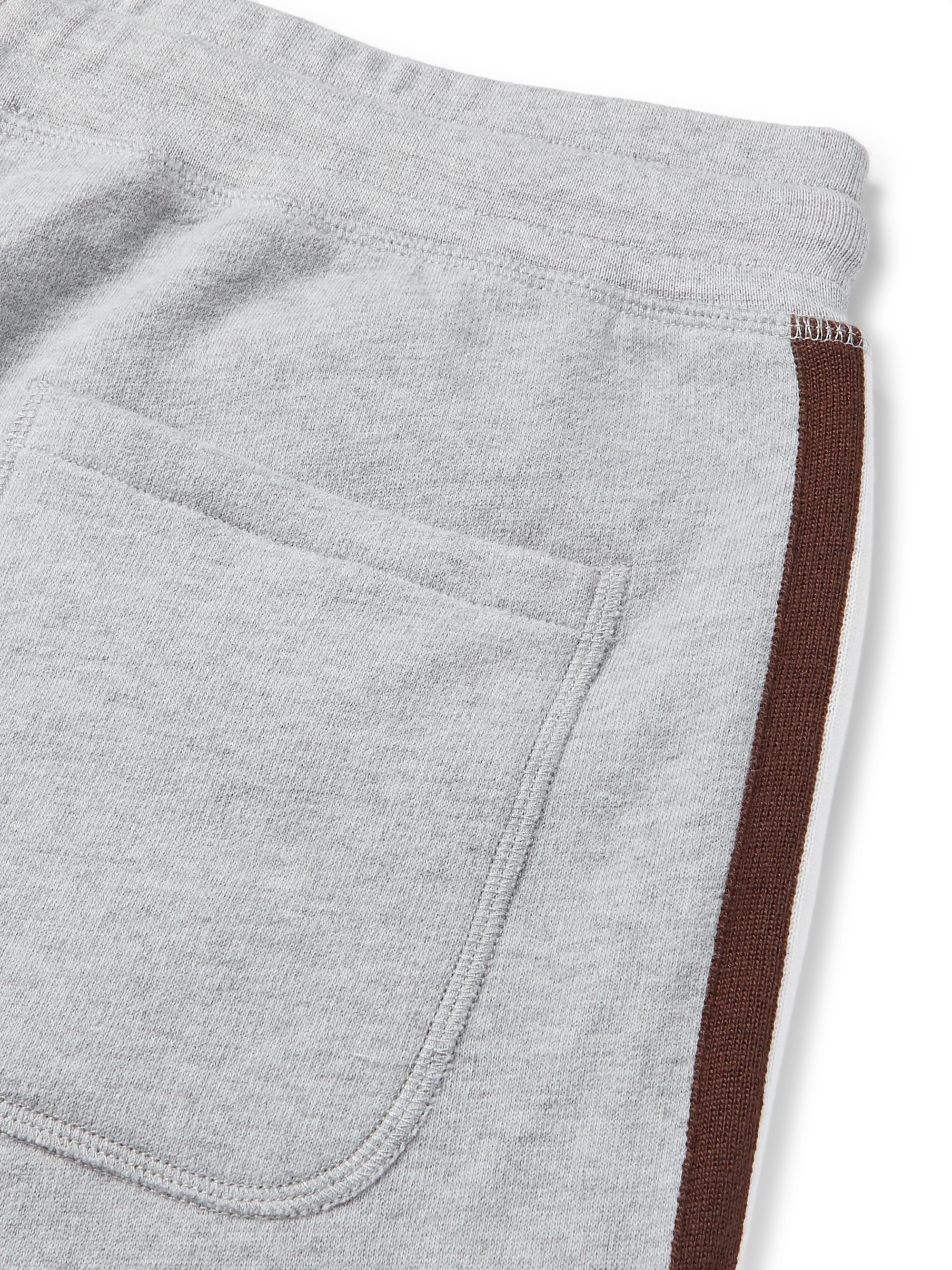 KINGSMAN Slim-Fit Tapered Striped Cotton and Cashmere-Blend Jersey Sweatpants