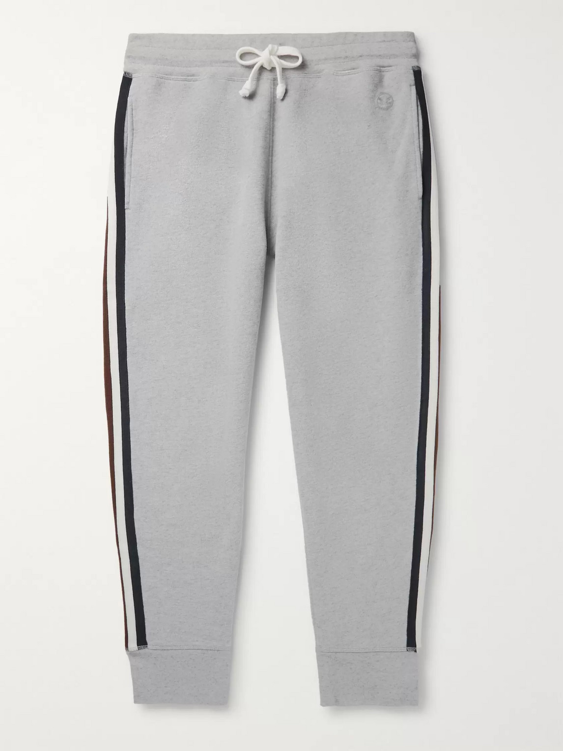 Kingsman Slim-fit Tapered Striped Cotton And Cashmere-blend Jersey Sweatpants In Gray