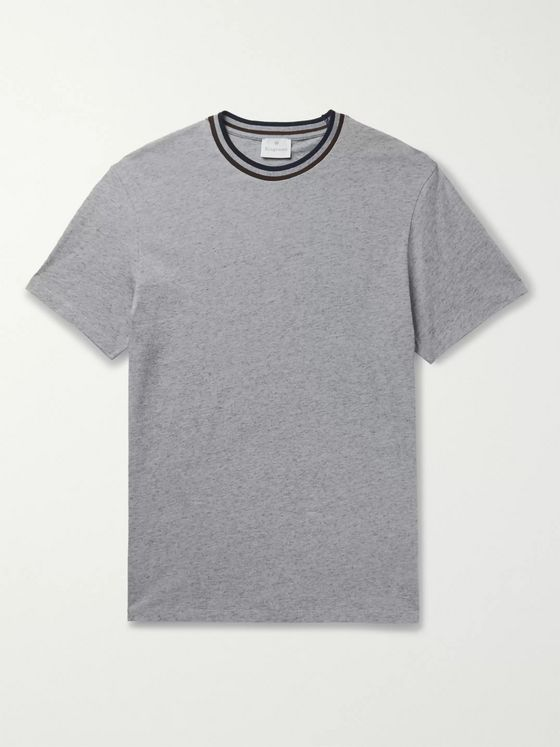 KINGSMAN Contrast-Tipped Mélange Cotton and Cashmere-Blend Jersey T-Shirt