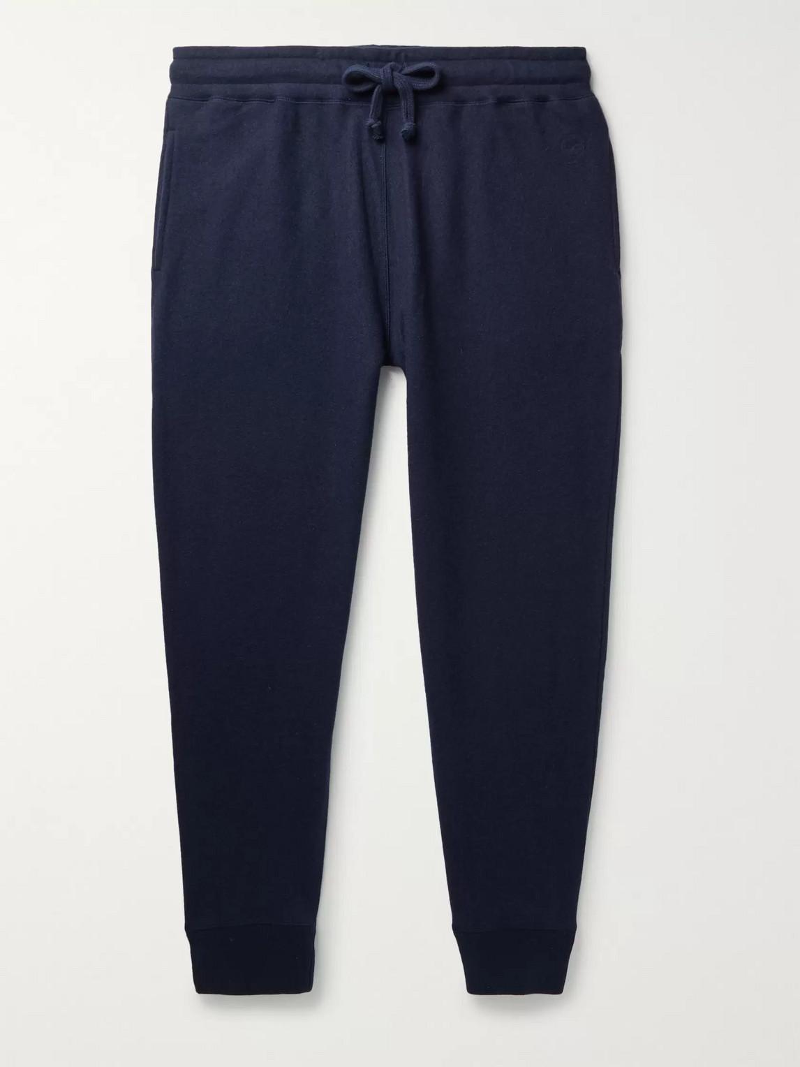 Kingsman Slim-fit Tapered Brushed-cashmere Sweatpants In Blue