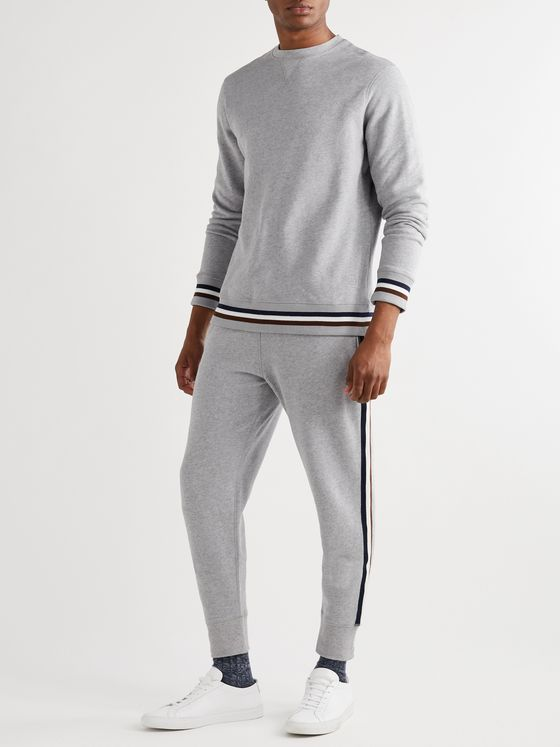 KINGSMAN Stripe-Trimmed Mélange Fleece-Back Cotton and Cashmere-Blend Sweatshirt