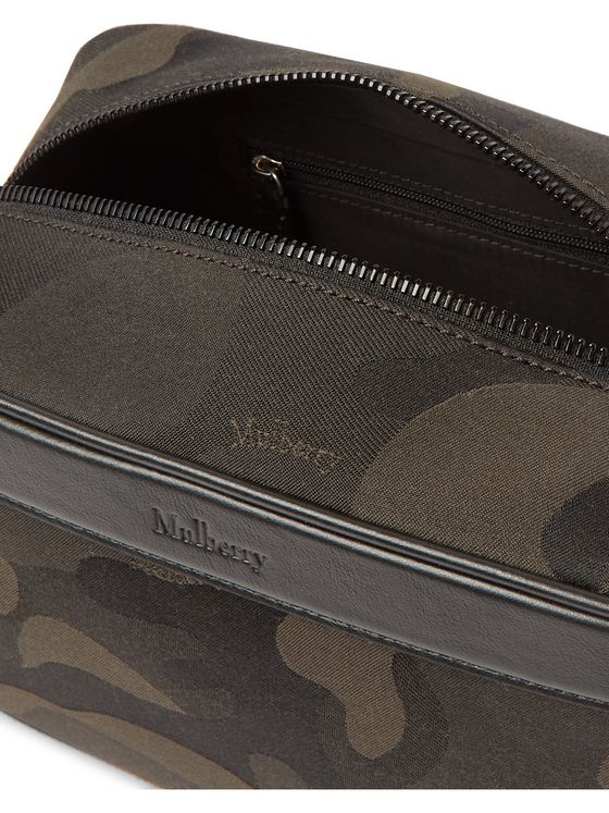 Mulberry Leather-Trimmed Camouflage-Print Canvas Wash Bag