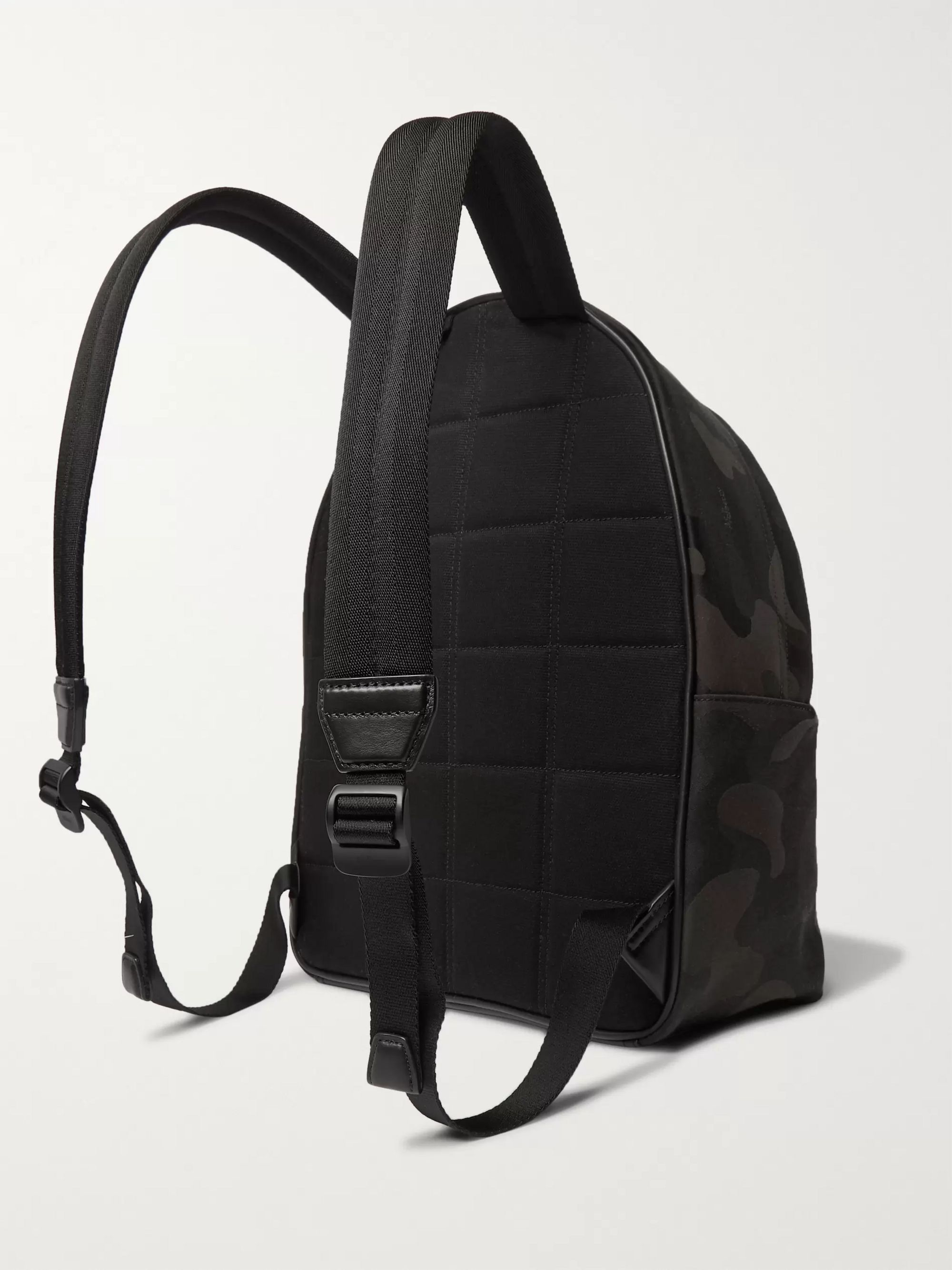 Mulberry Leather-Trimmed Camouflage-Print Canvas Backpack