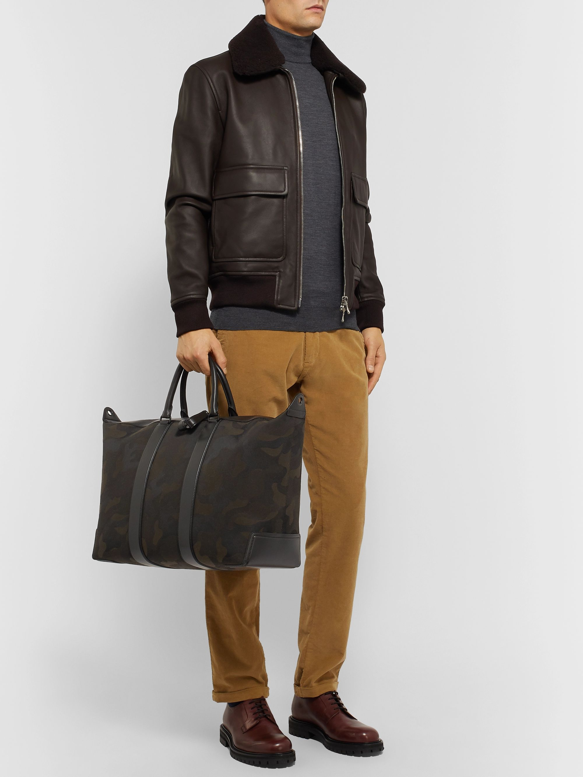 Mulberry Leather-Trimmed Camouflage-Print Canvas Holdall