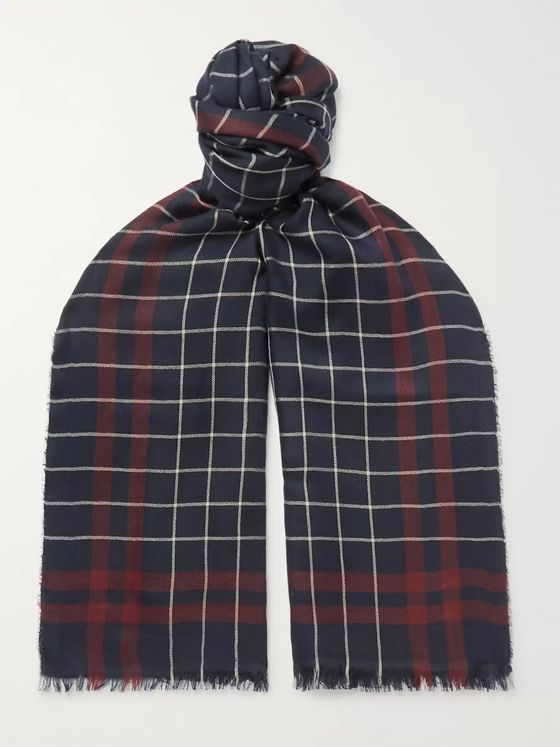 Begg & Co Magellan Fringed Checked Cashmere and Silk-Blend Scarf