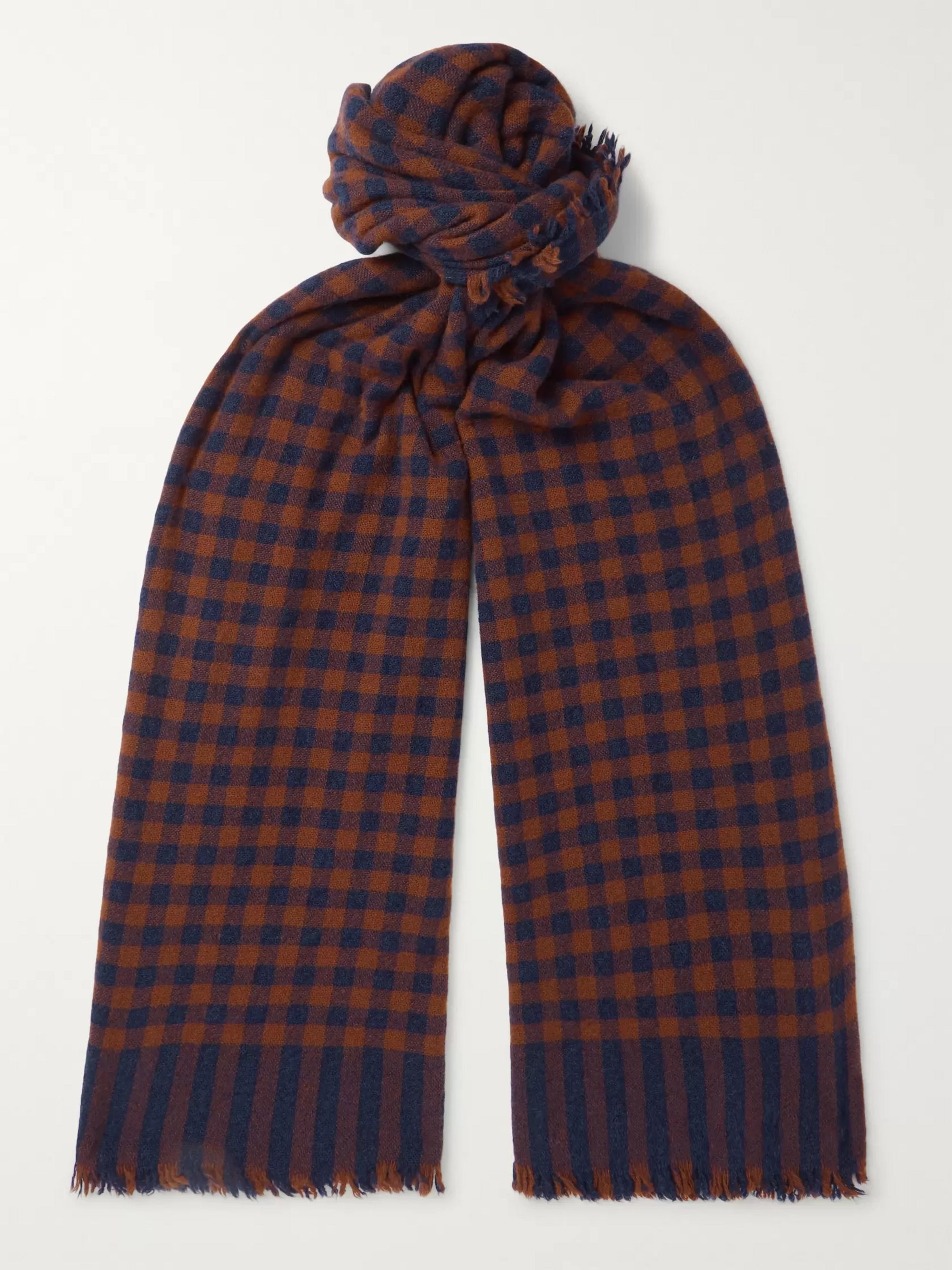 Begg & Co Beaufort Fringed Checked Wool and Cashmere-Blend Scarf