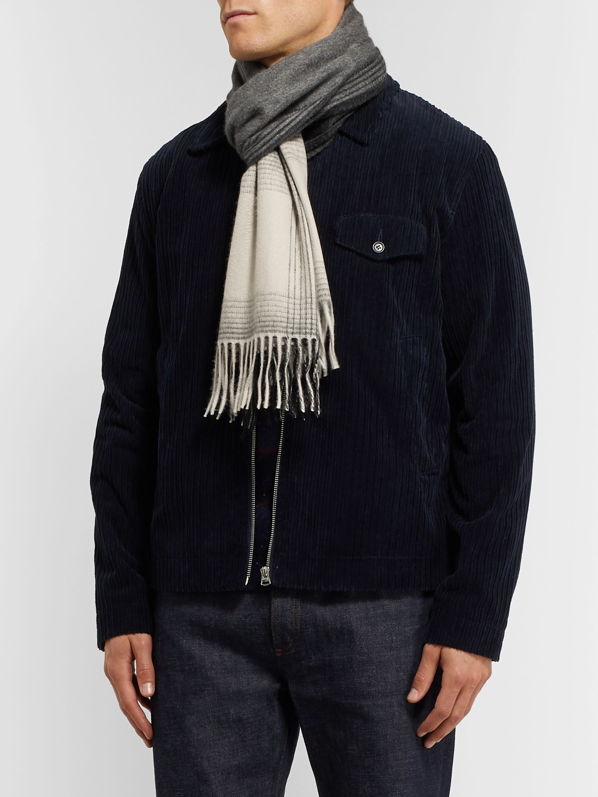 Begg & Co Arran Reversible Fringed Cashmere Scarf
