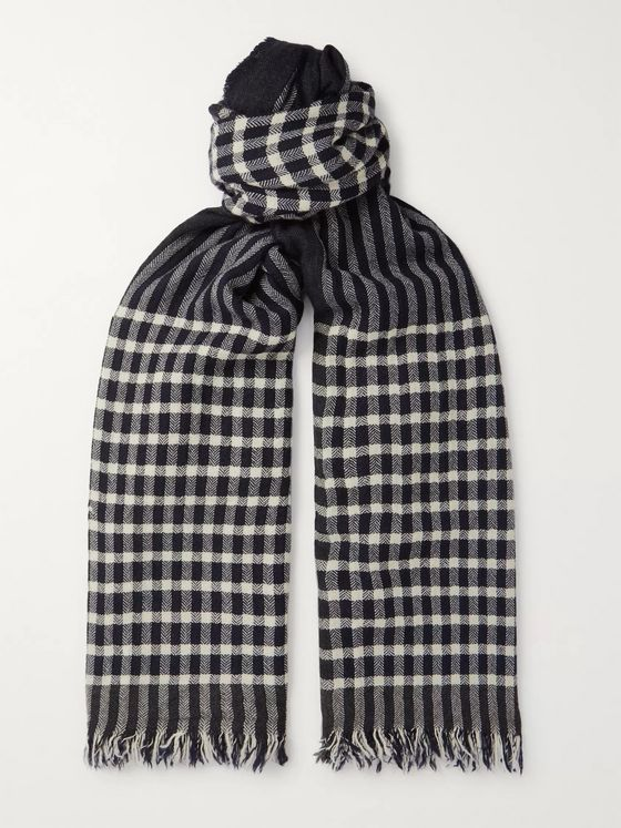 Begg & Co Rona Fringed Checked Herringbone Cashmere Scarf