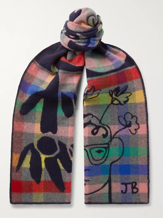 Begg & Co + John Booth Checked Lambswool and Cashmere-Blend Jacquard Scarf