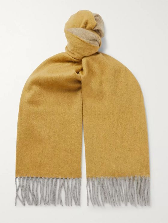 Begg & Co Arran Fringed Colour-Block Cashmere Scarf