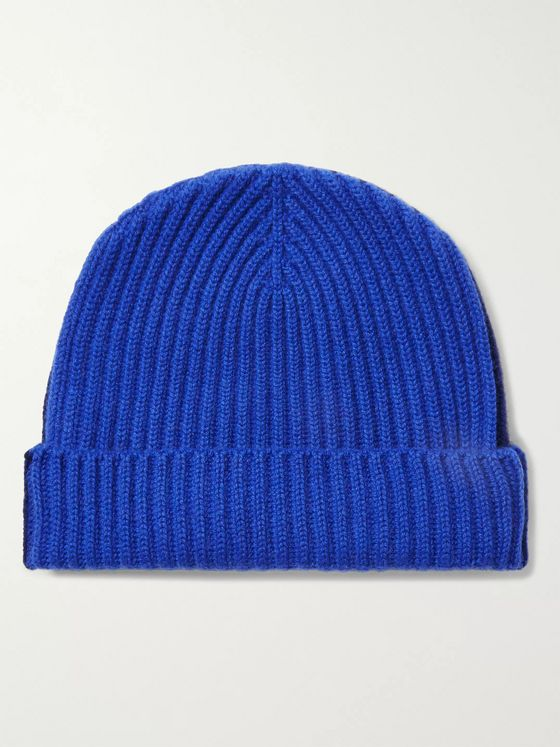Begg & Co Colour-Block Ribbed Cashmere Beanie