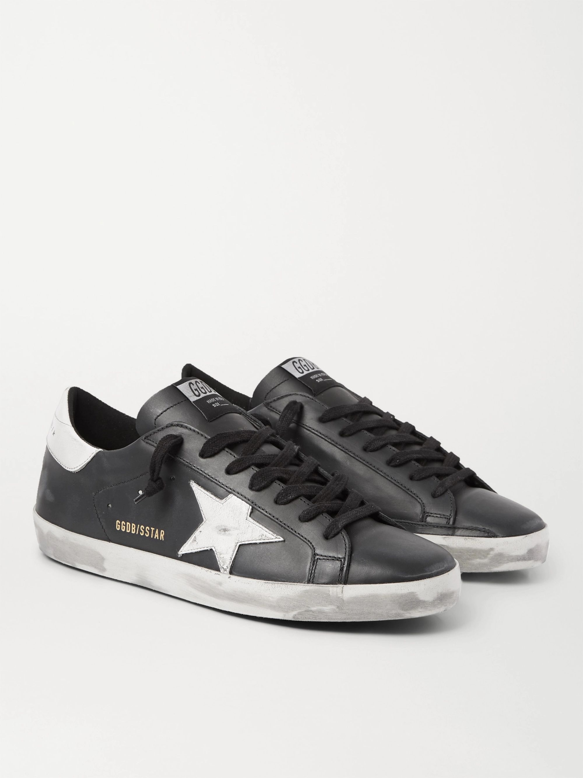 골든구스 Golden Goose Superstar Distressed Leather Sneakers,Black