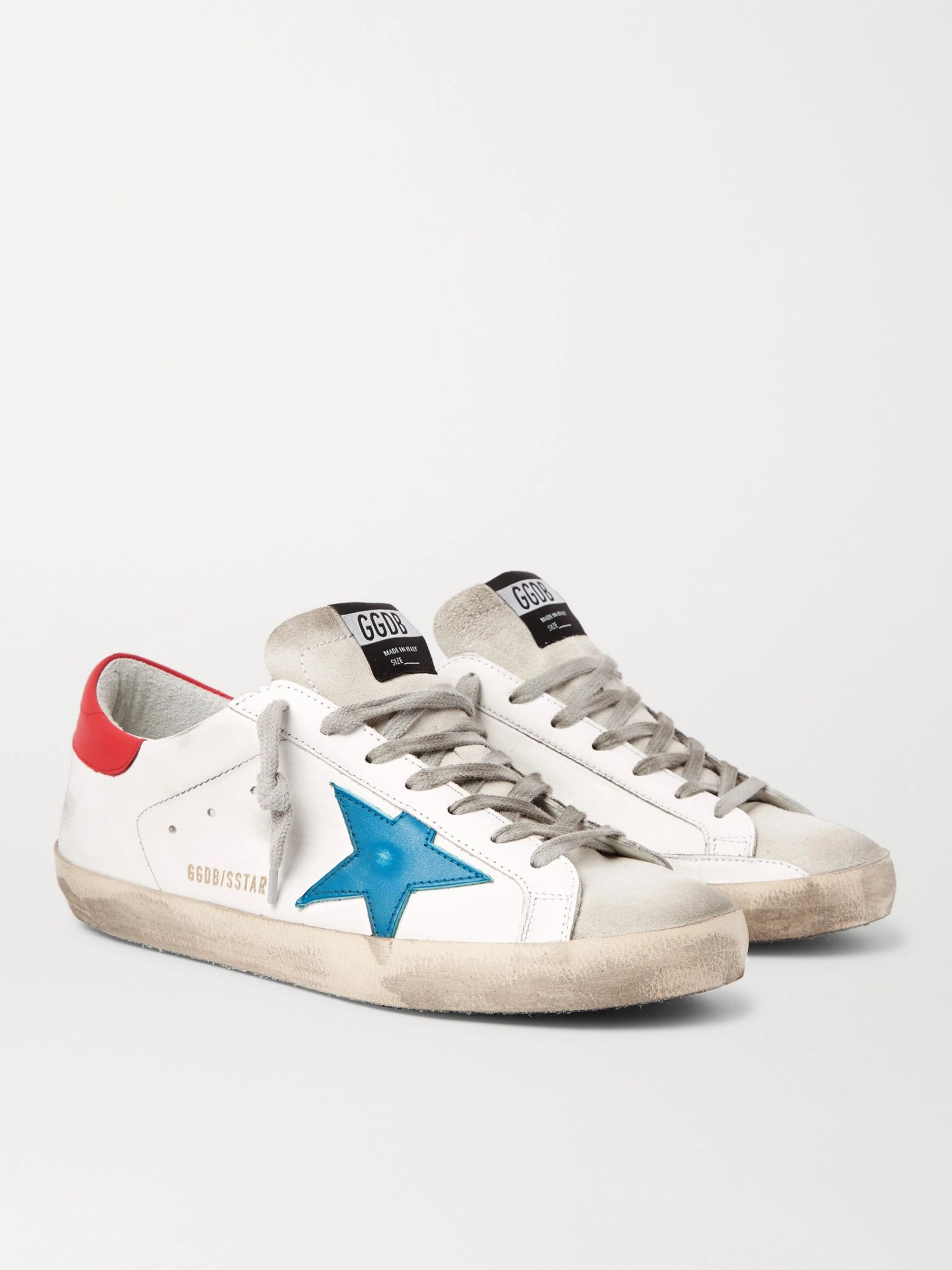 골든구스 Golden Goose Superstar Distressed Leather and Suede Sneakers,White