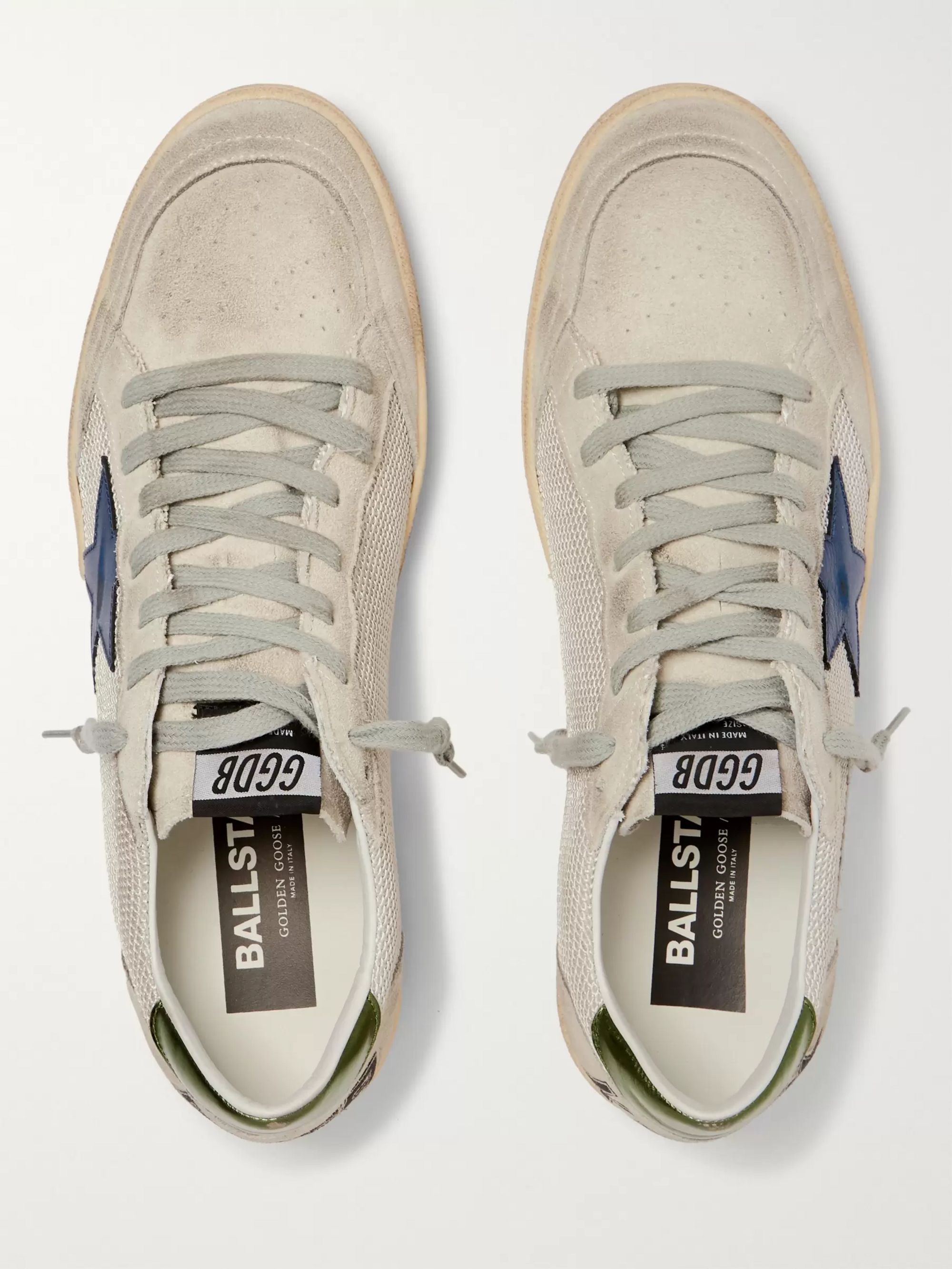 Golden Goose Ball Star Distressed Suede, Mesh and Leather Sneakers