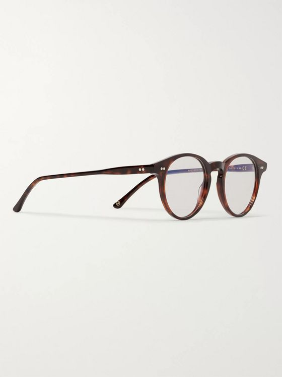 Kingsman + Culter and Gross Round-Frame Tortoiseshell Acetate Optical Glasses