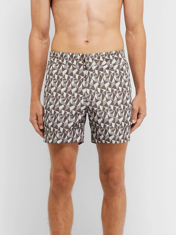 Frescobol Carioca Fragment Slim-Fit Mid-Length Printed Swim Shorts