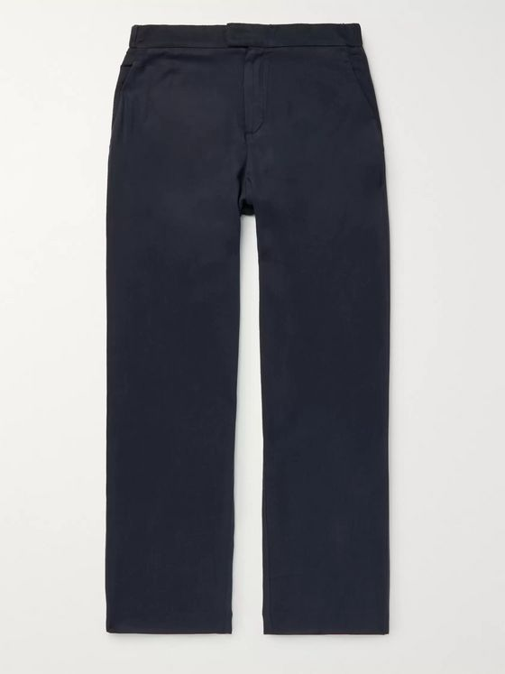 Frescobol Carioca Navy Wide-Leg Tencel Drawstring Trousers