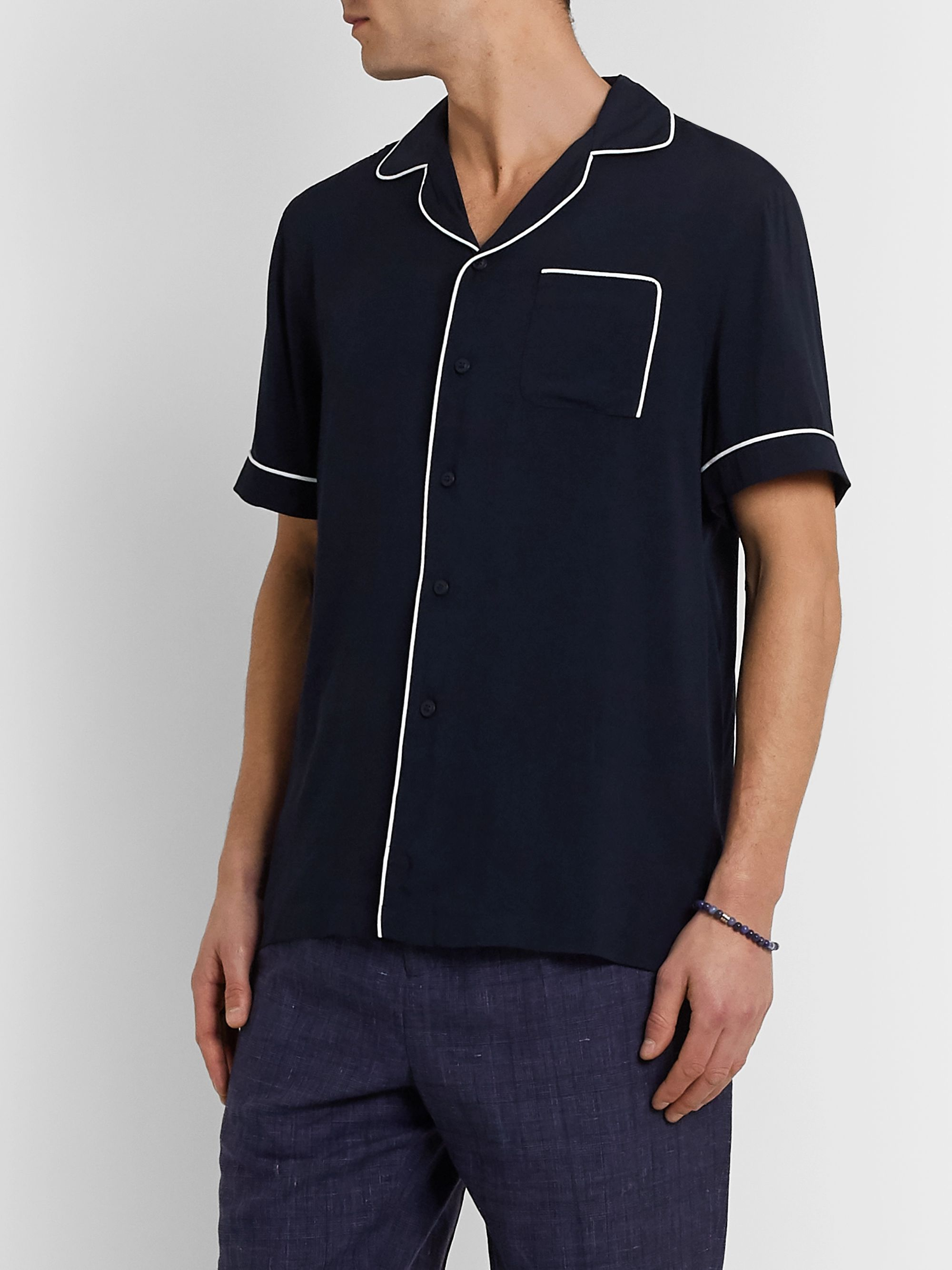Frescobol Carioca Camp-Collar Piped Jersey Shirt