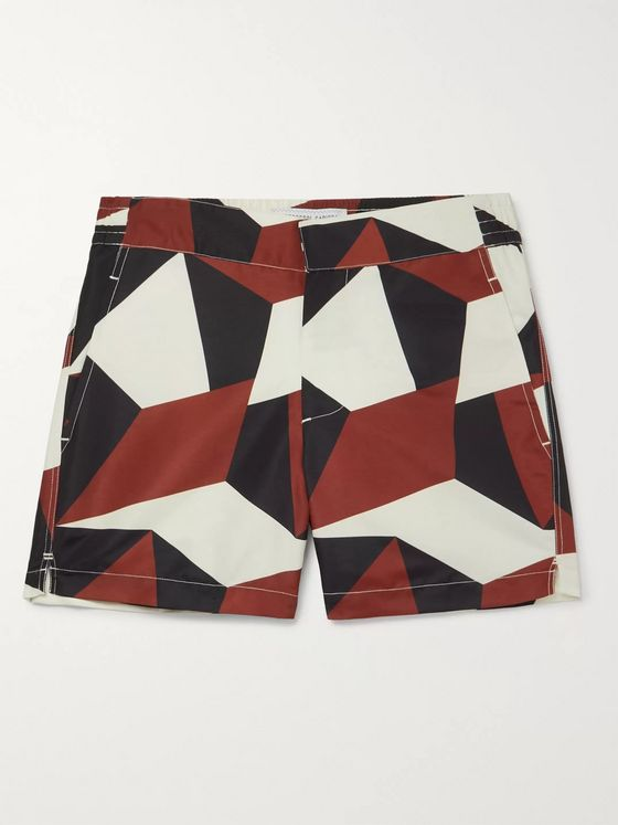 Frescobol Carioca Modernist Slim-Fit Mid-Length Printed Swim Shorts