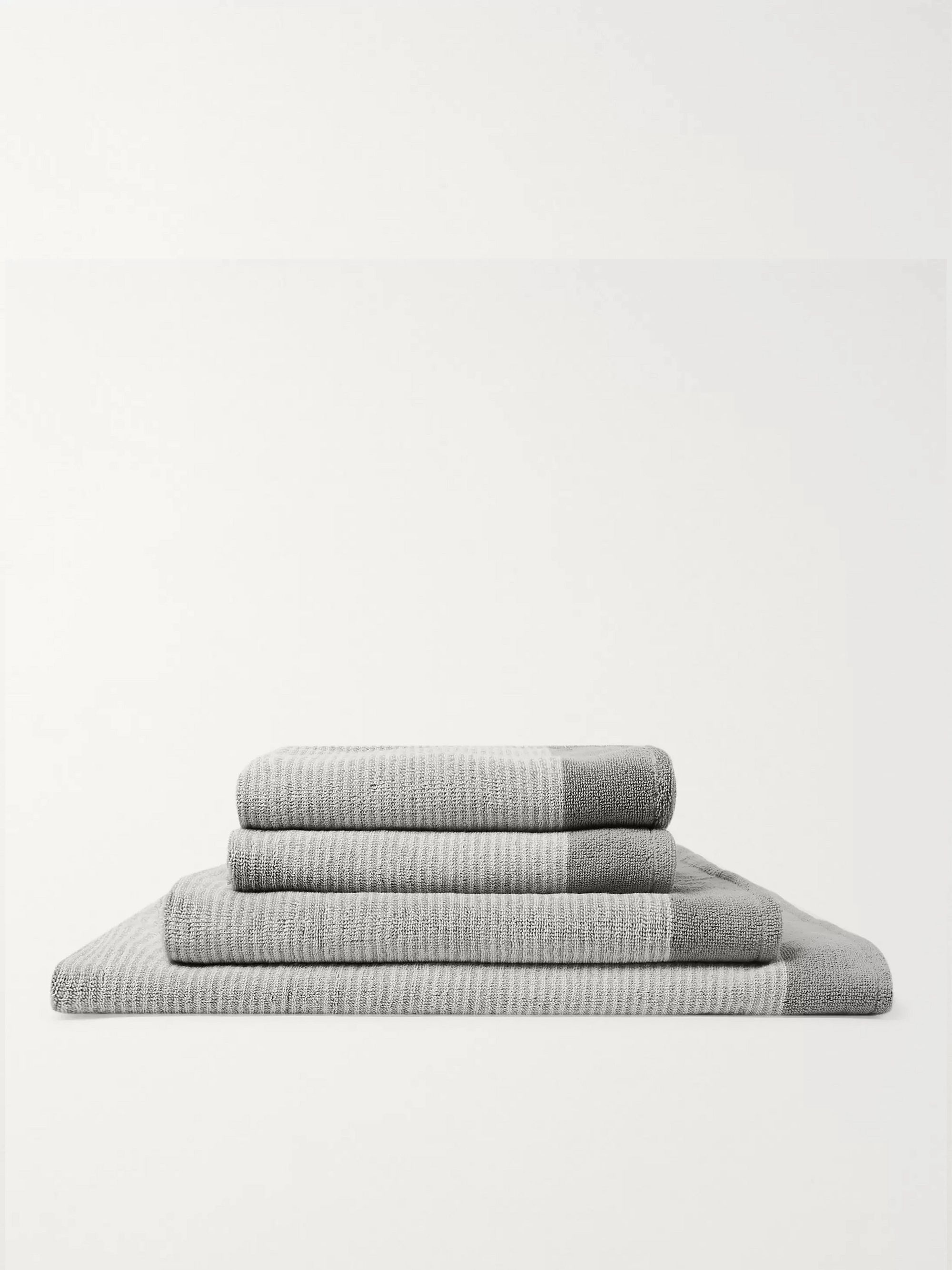 Cleverly Laundry Set of Four Striped Cotton-Terry Bath Towels