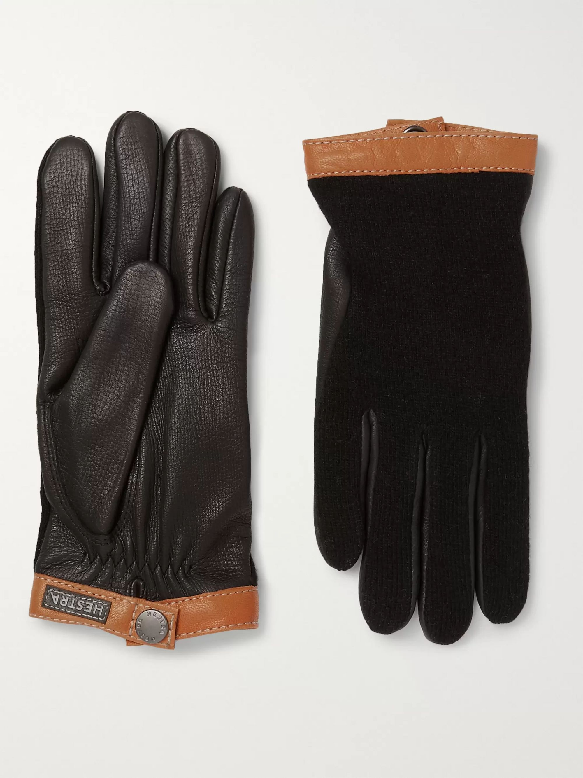Hestra Tricot-Knit and Leather Gloves